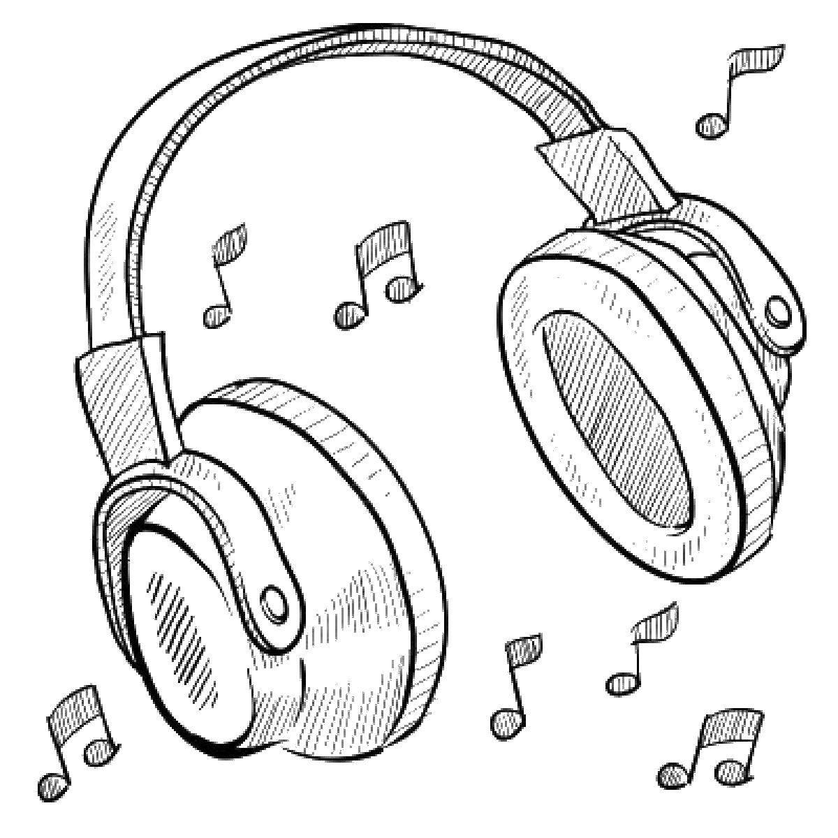 Раскраска Музыка в наушниказ Скачать Музыка, инструмент, музыкант, ноты.  Распечатать ,Музыка,