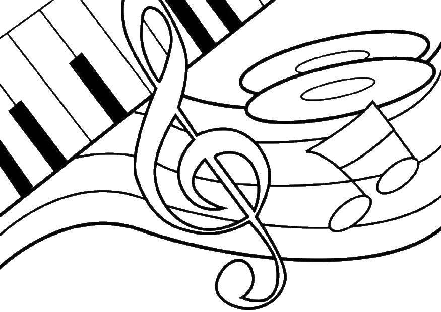 Раскраска Скрипичный ключ и другие ноты Скачать Музыка, инструмент, музыкант, ноты.  Распечатать ,Музыка,