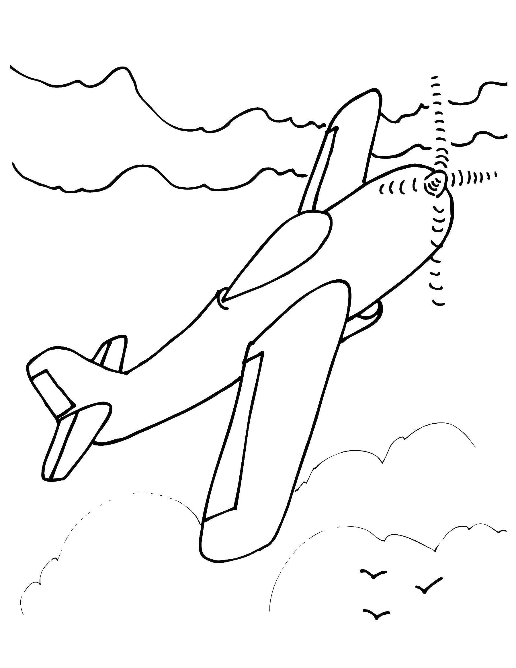 Название: Раскраска Самолёт летит в небе. Категория: Самолеты. Теги: Самолёт.