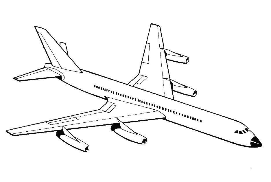 Раскраска Длинный самолет Скачать Самолёт.  Распечатать ,Самолеты,