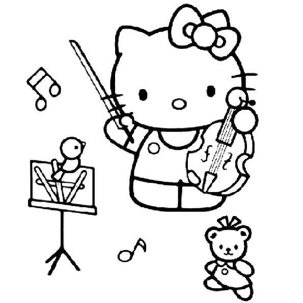 Раскраска Китти музыкант Скачать Китти.  Распечатать ,китти,