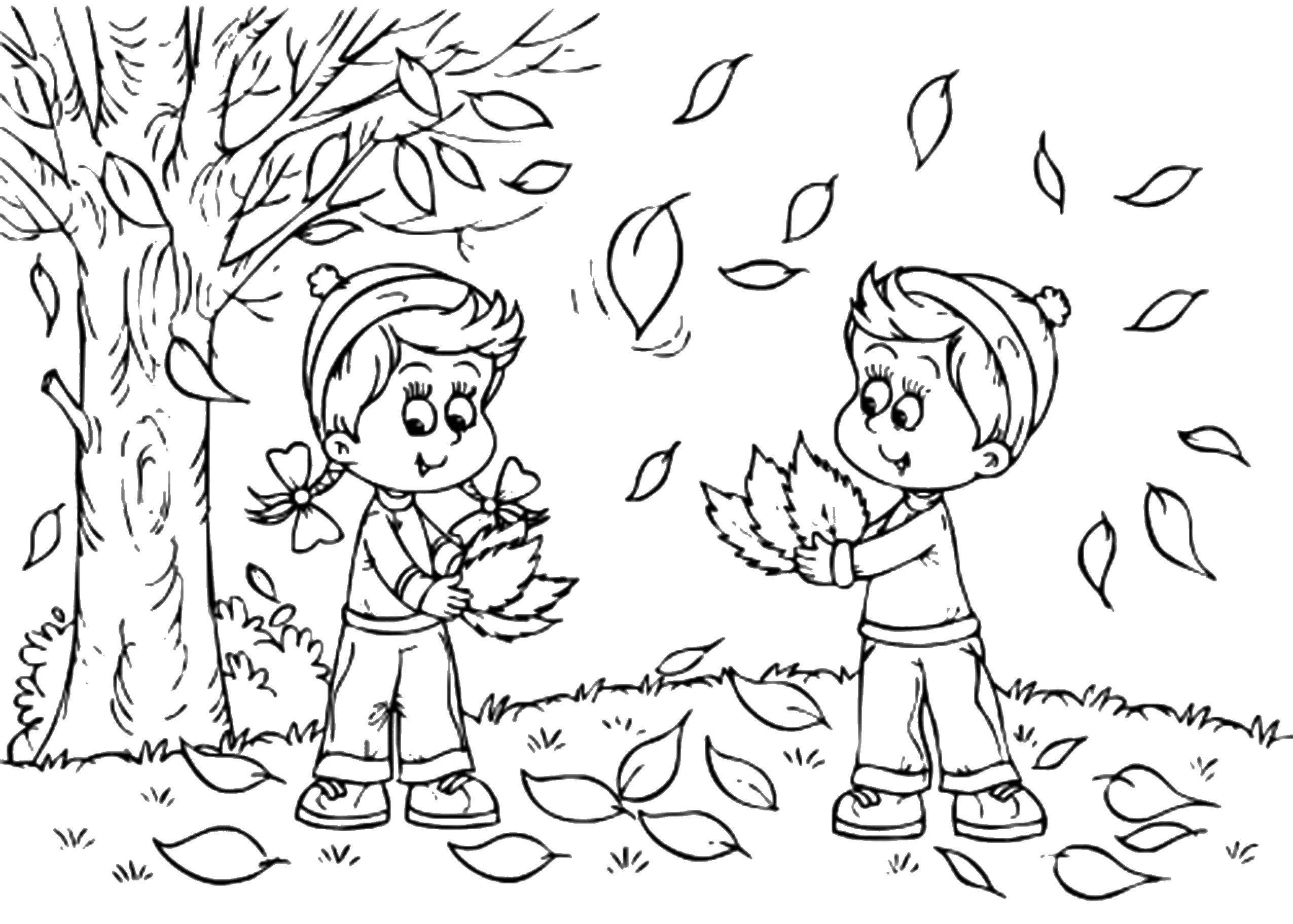Раскраска Дети играют в осенних листьях Скачать Осень, листья, дети.  Распечатать ,Осень,