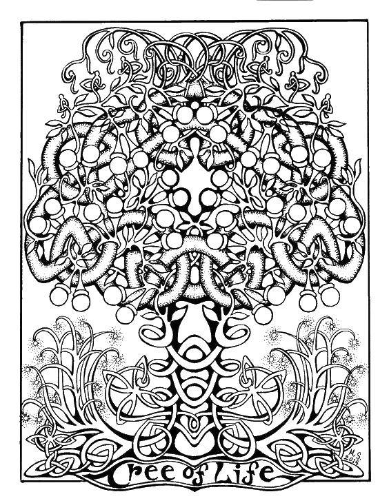 Раскраска Древо жизни Скачать Деревья, лист.  Распечатать ,дерево,