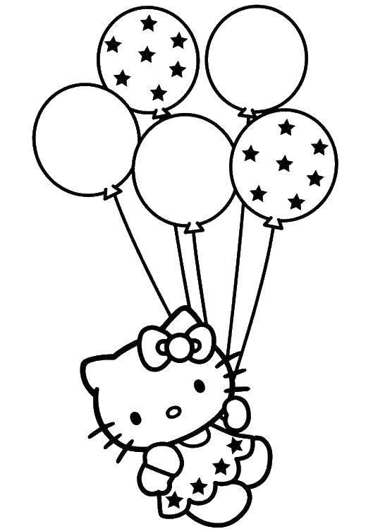 Раскраска Китти с шарами Скачать Китти.  Распечатать ,китти,