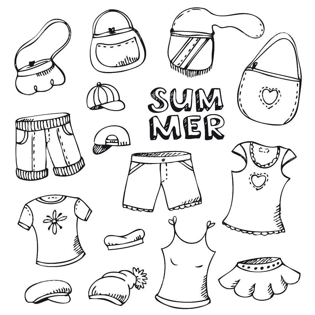 Раскраска Летняя одежда Скачать Одежда, лето.  Распечатать ,Одежда,