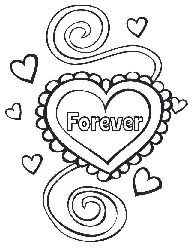 Раскраска Навсегда Скачать День Святого Валентина, любовь, сердце.  Распечатать ,день святого валентина,