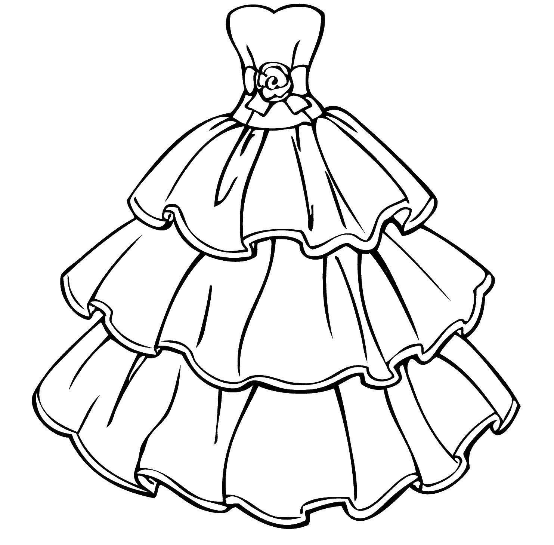 Раскраска Пышное платье с цветком Скачать Одежда, платье.  Распечатать ,Платья,