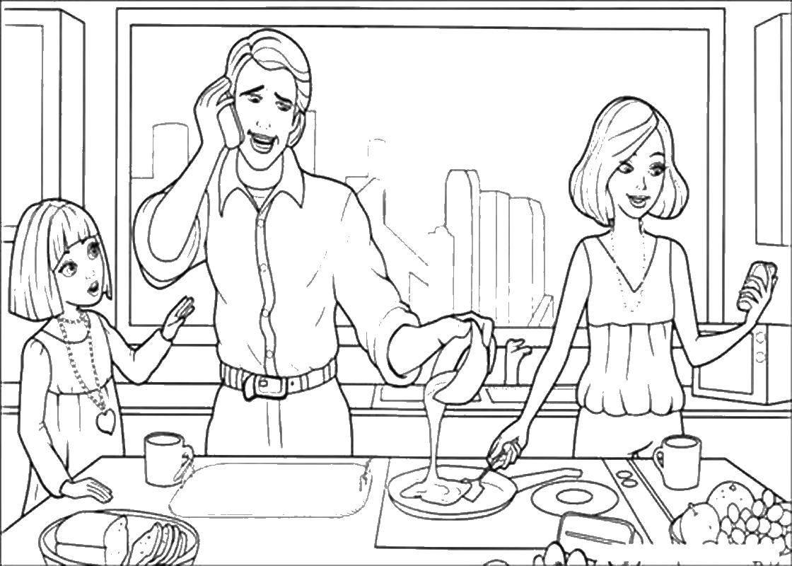 Раскраска Семейный обед Скачать Семья, родители, дети.  Распечатать ,Семья,