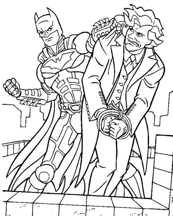 Раскраска Бэтмэн против джокера Скачать Комиксы, БэтМэн.  Распечатать ,Комиксы,