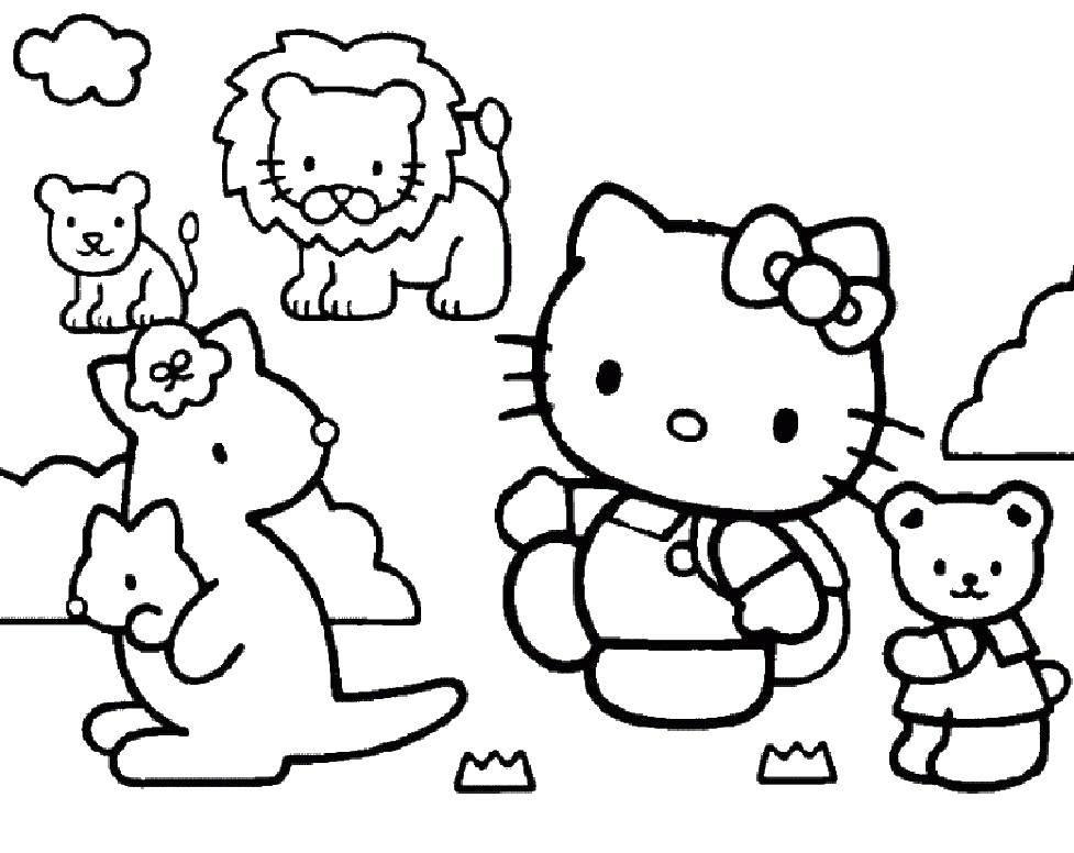 Раскраска Китти в зоопарке Скачать Китти.  Распечатать ,китти,