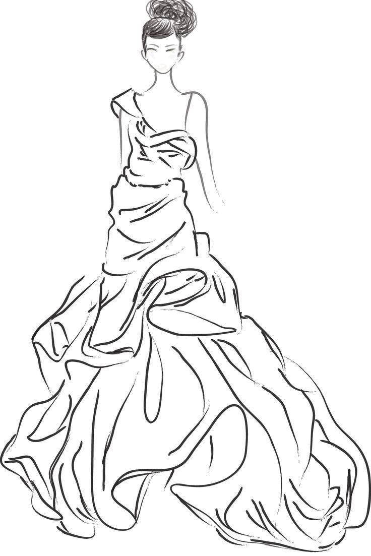 Раскраска Платье на танцы Скачать Одежда, платье.  Распечатать ,Платья,