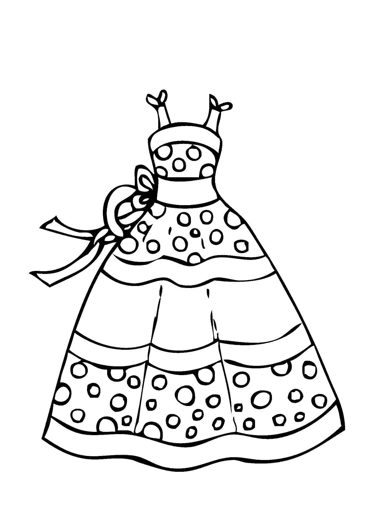 Раскраска Платье в крапинку Скачать Одежда, платье.  Распечатать ,Платья,
