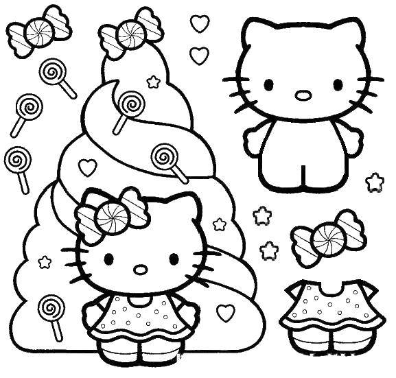 Раскраска Китти с конфетками Скачать ,Китти,.  Распечатать