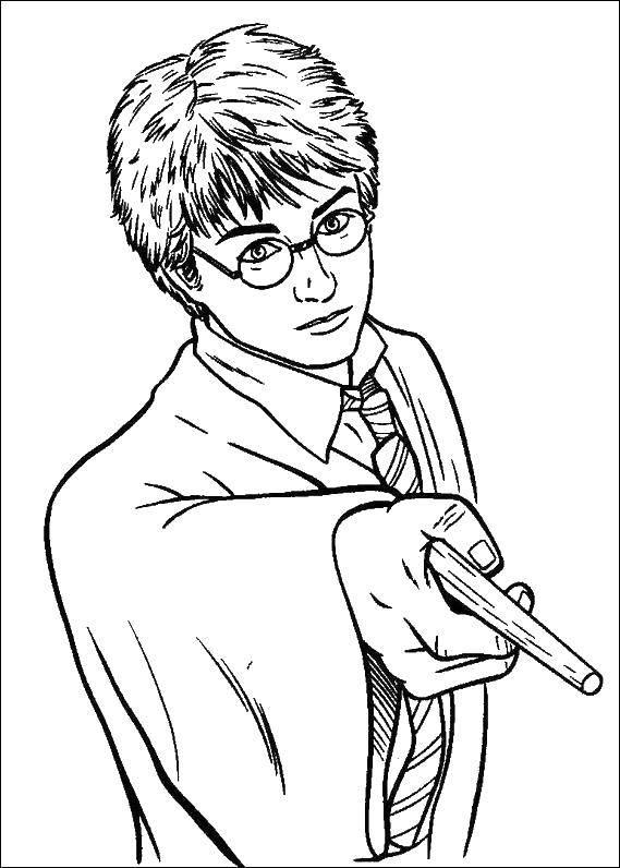 Раскраска Гарри поттер Скачать Гарри Поттер, мультфильм.  Распечатать ,Гарри Поттер,