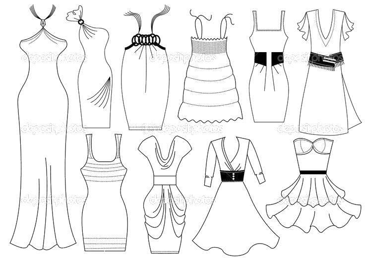 Раскраска Разные модели платьев Скачать ,Одежда, платье,.  Распечатать
