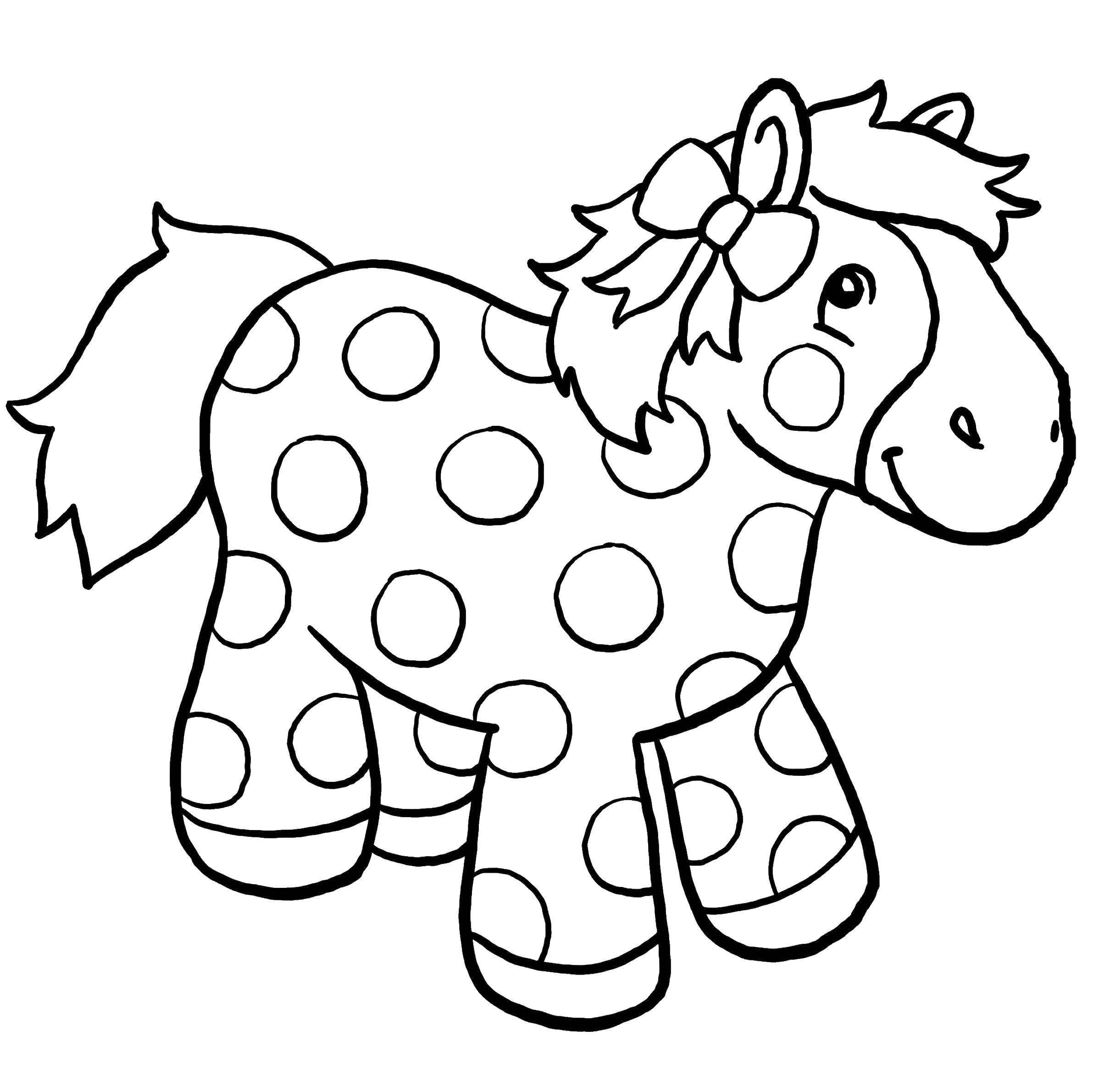 Раскраска Лошадка в крапинку Скачать Игрушка, лошадка.  Распечатать ,игрушка,