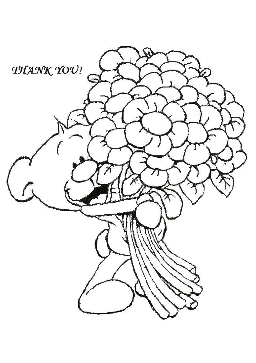 Раскраска Спасибо тебе! Скачать День Святого Валентина, любовь, сердце, цветы.  Распечатать ,день святого валентина,