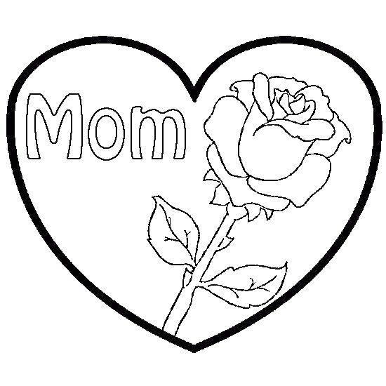 Раскраска Роза в сердечке для мамы Скачать роза.  Распечатать ,Я тебя люблю,
