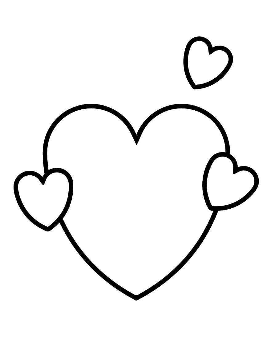 Раскраска Сердечки разных размеров, маленькие и большие Скачать сердце.  Распечатать ,Я тебя люблю,