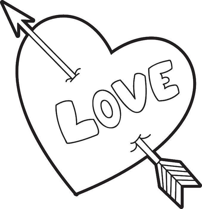Раскраска Сердце пробитое стрелой Скачать сердце.  Распечатать ,Я тебя люблю,