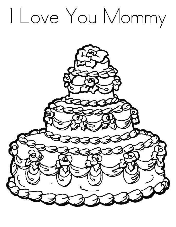 Раскраска Тортик для мамы Скачать Торт, еда, праздник.  Распечатать ,Я тебя люблю,
