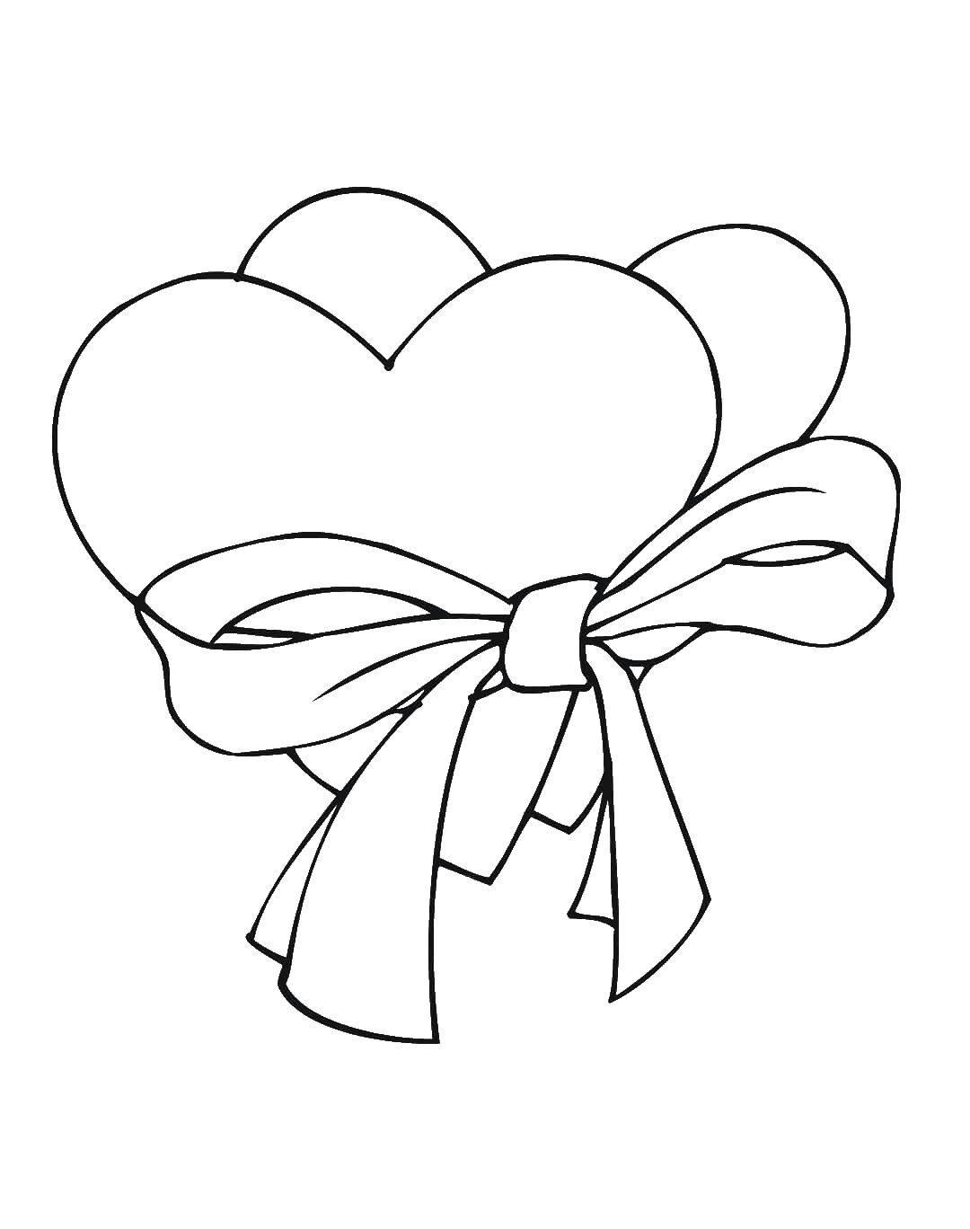 Название: Раскраска Сердечки и бантик. Категория: Сердечки. Теги: сердечки, бантик, любовь.