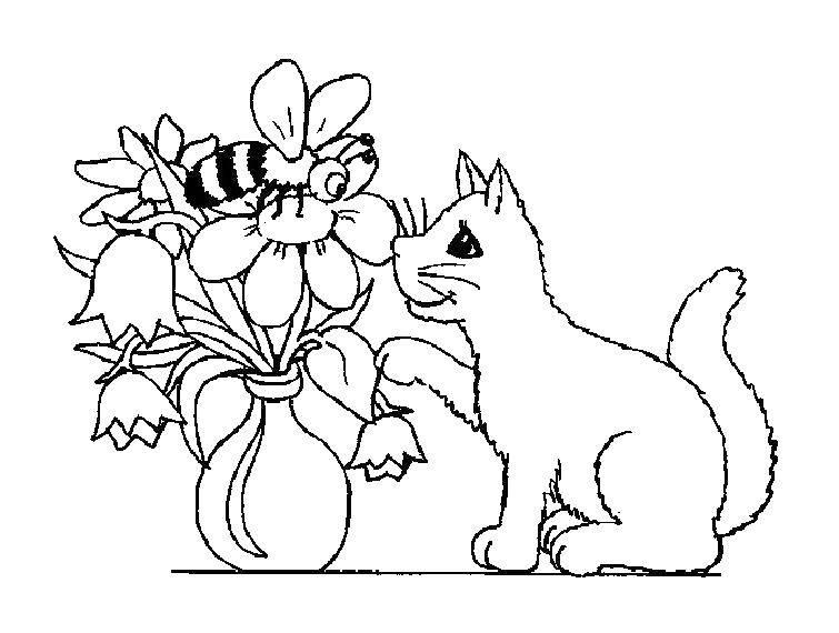 Раскраска Коты и котята Скачать контуры, кролики, зайчики.  Распечатать ,Контур зайца для вырезания,