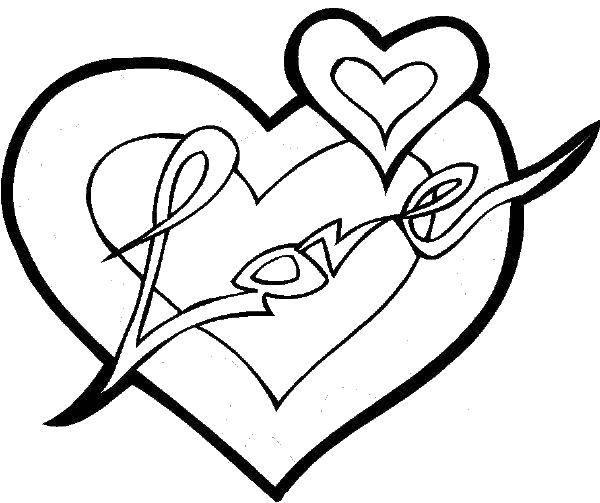 Раскраска Сердце и любовь Скачать форма, сердце, любовь.  Распечатать ,Сердечки,