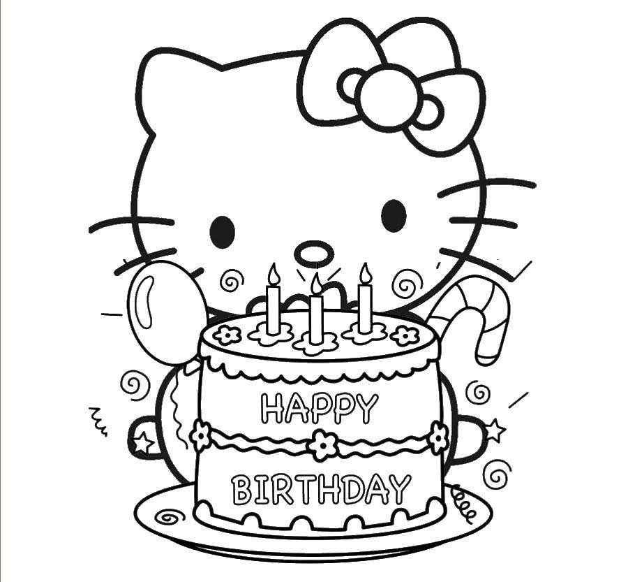 Раскраска Хэллоу китти, с днем рождения Скачать Хэллоу Китти, день рождения.  Распечатать ,Хэллоу Китти,