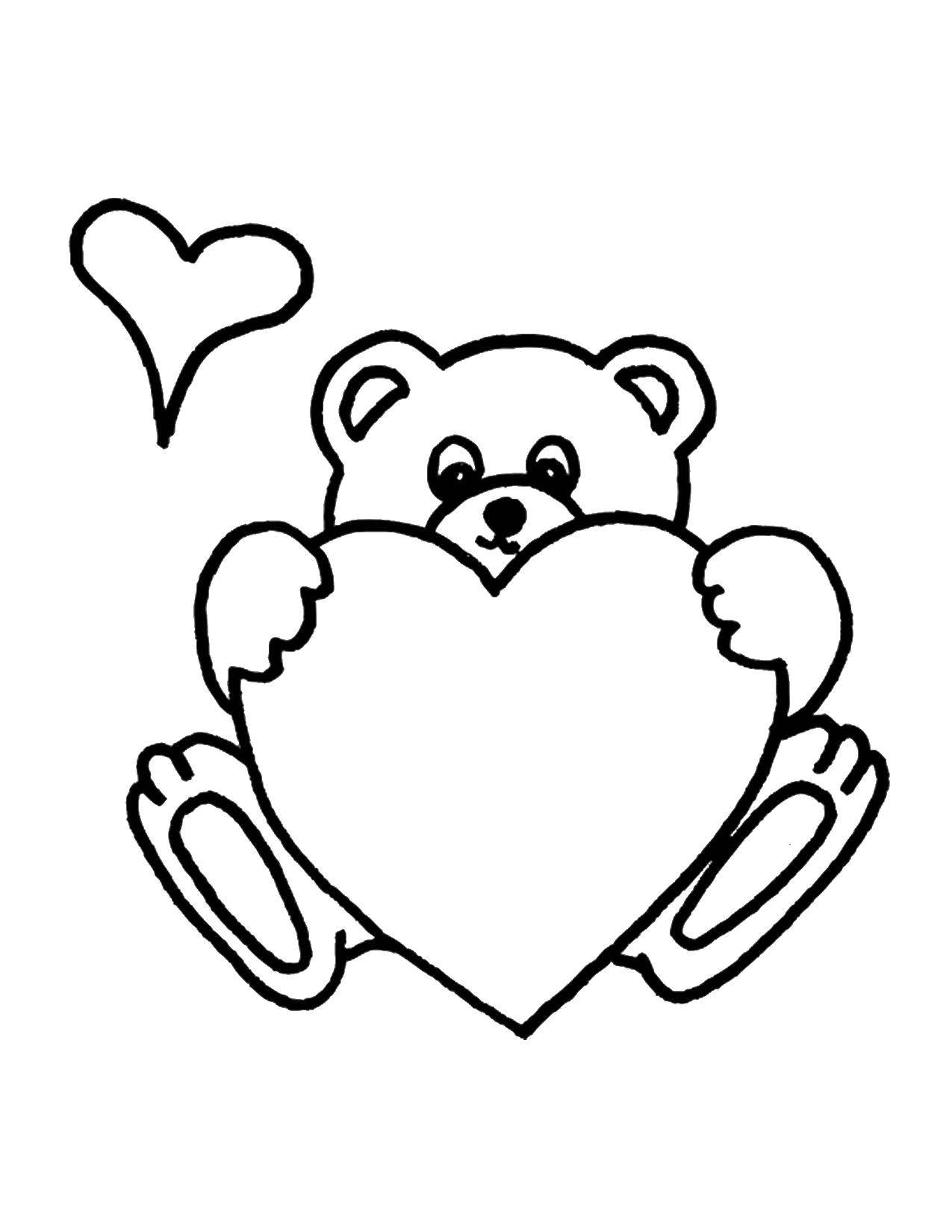Раскраска Мишка и сердце Скачать мишка, сердечки, любовь.  Распечатать ,Сердечки,
