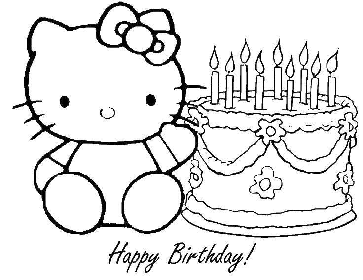 Раскраска С днем рождения хэллоу китти Скачать Хэллоу Китти, торт, день рождения.  Распечатать ,Хэллоу Китти,