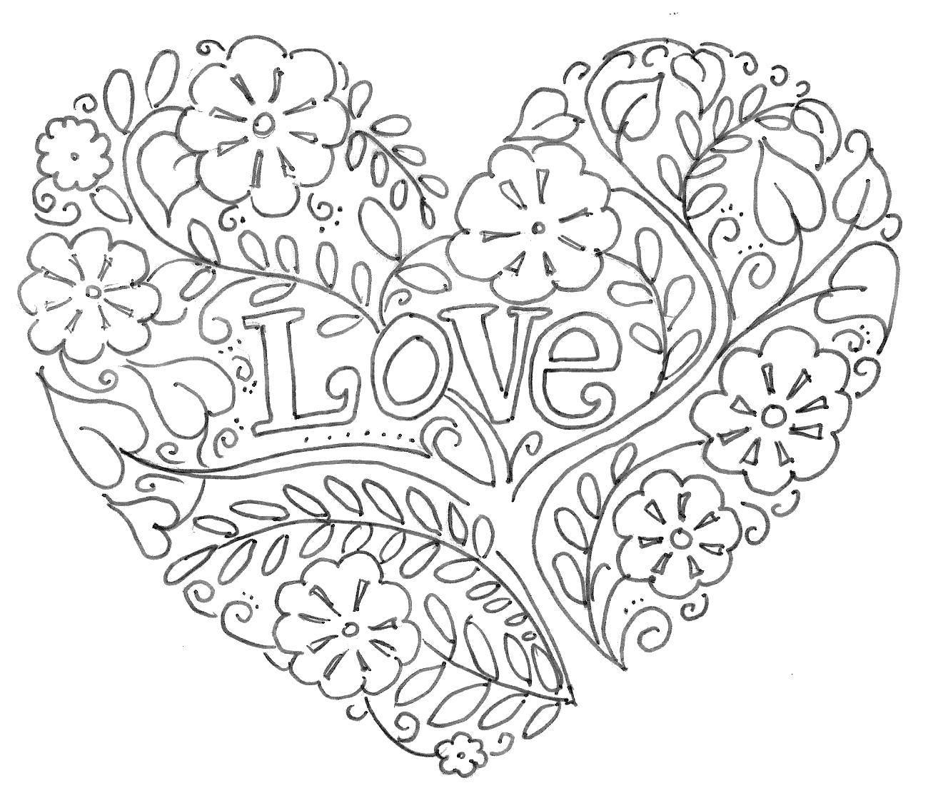 Раскраска Узорная любовь Скачать Сердечко, любовь.  Распечатать ,Я тебя люблю,