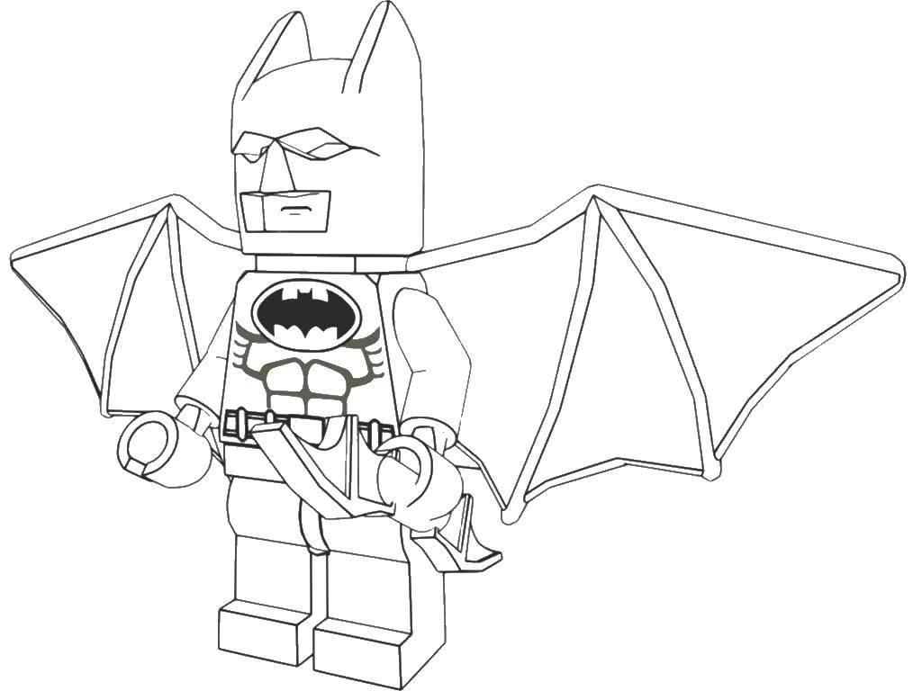 Раскраска Бэтмэн из конструктора лего Скачать Конструктор, Лего, Бэтмэн.  Распечатать ,Лего,