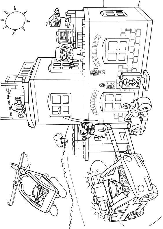 Раскраска Полиция лего Скачать игры, конструктор, Лего, полиция.  Распечатать ,Лего,
