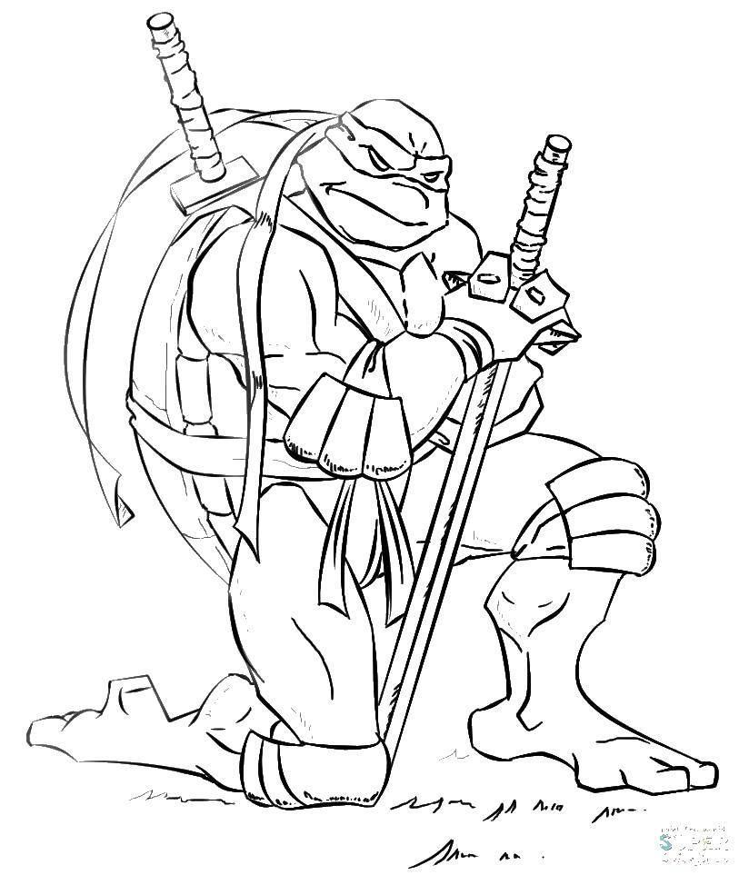 Раскраска Черепашка ниндзя с мечом Скачать мультфильмы, черепашки ниндзя.  Распечатать ,черепашки ниндзя,