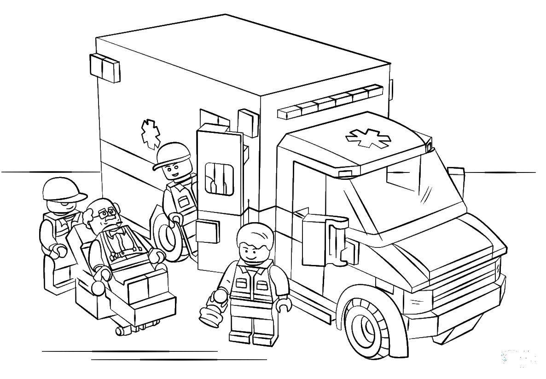 Раскраска Скорая помощь лего Скачать Конструктор, Лего.  Распечатать ,Лего,
