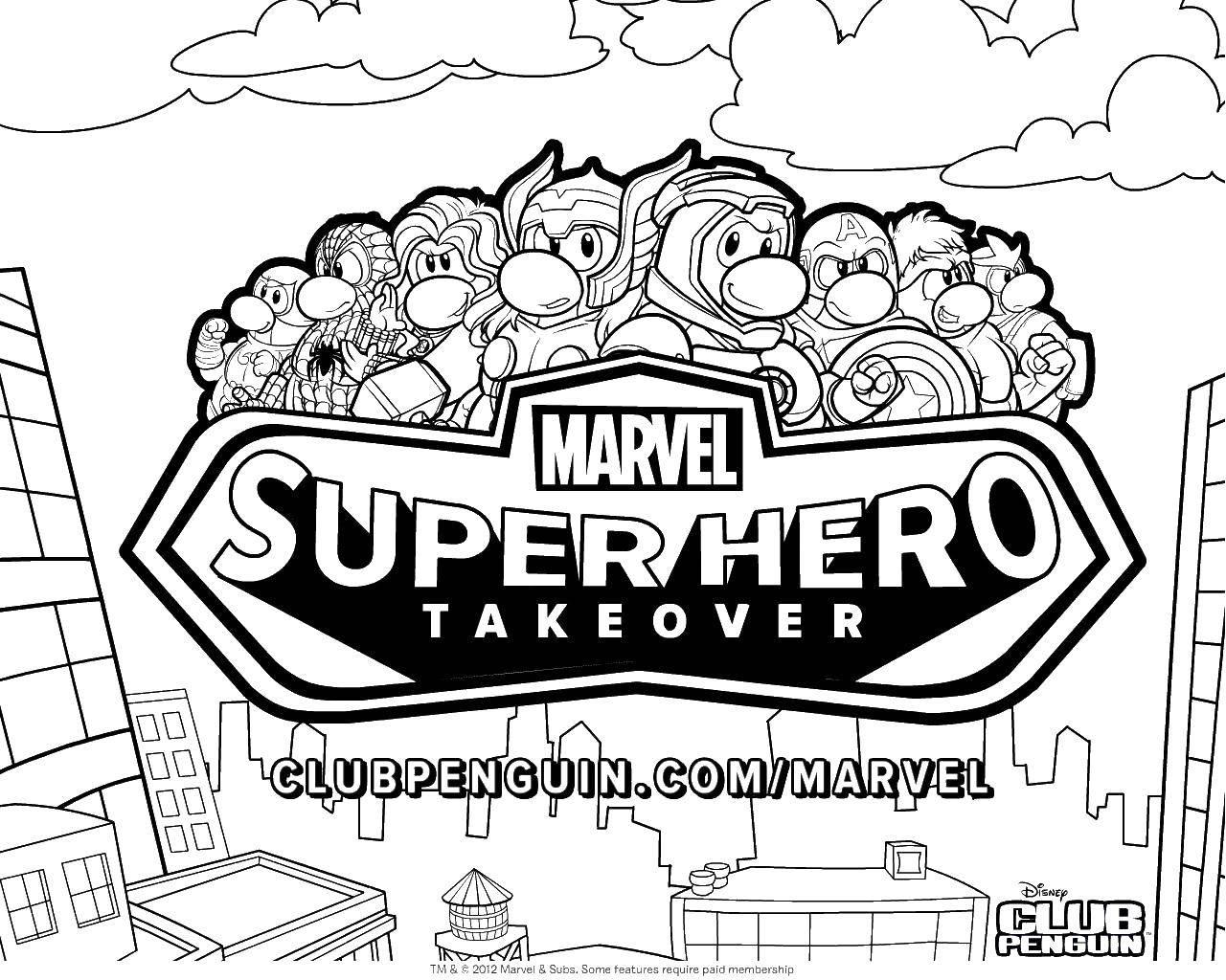 Раскраска Супер герои марвел Скачать супергеой, марвел.  Распечатать ,Персонаж из мультфильма,