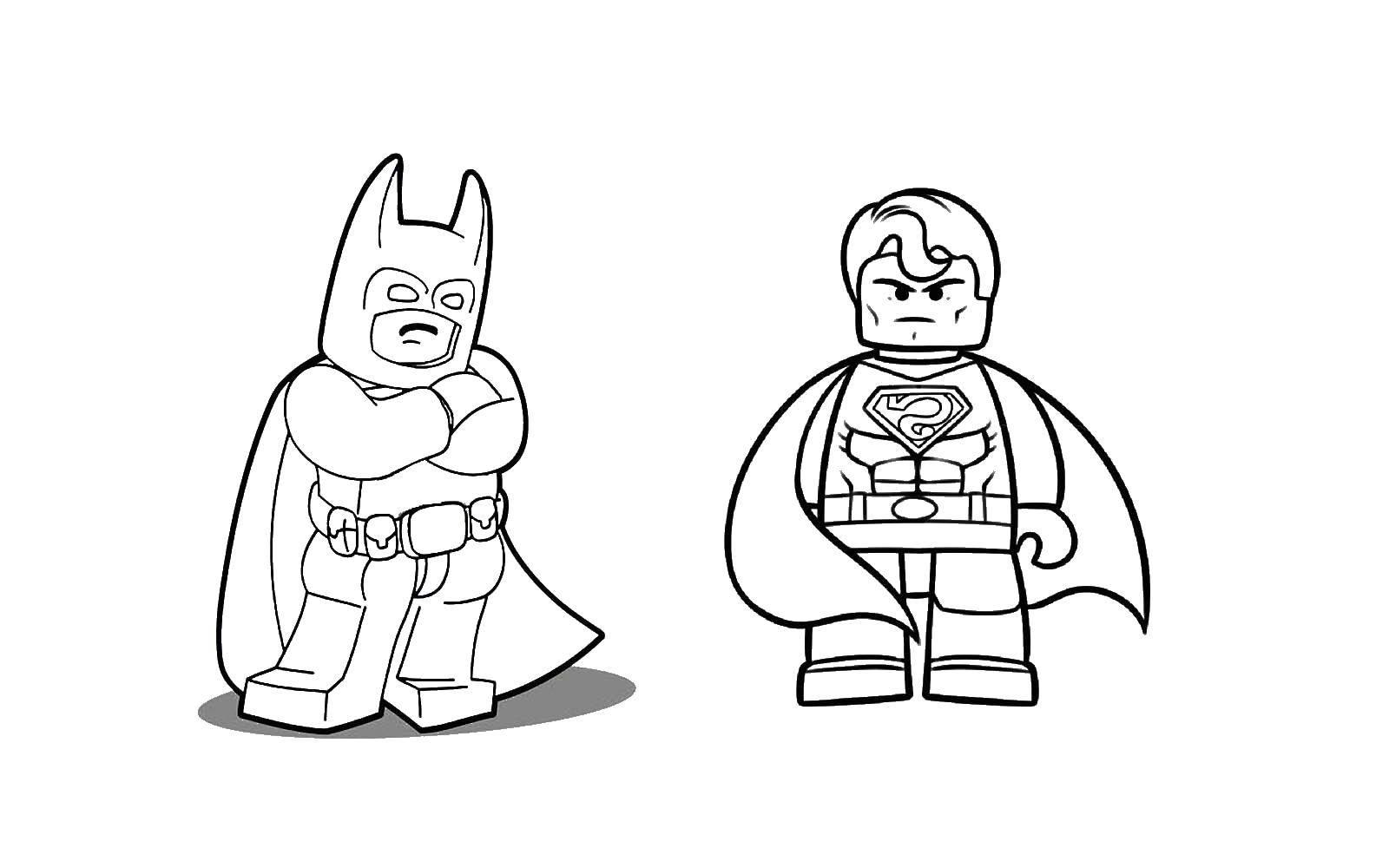 Раскраска Бэтмэн из конструктора лего и супермэн Скачать Конструктор, Лего.  Распечатать ,Лего,