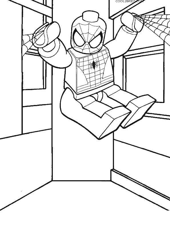 Раскраска Лего Скачать ,лего, человек паук,.  Распечатать