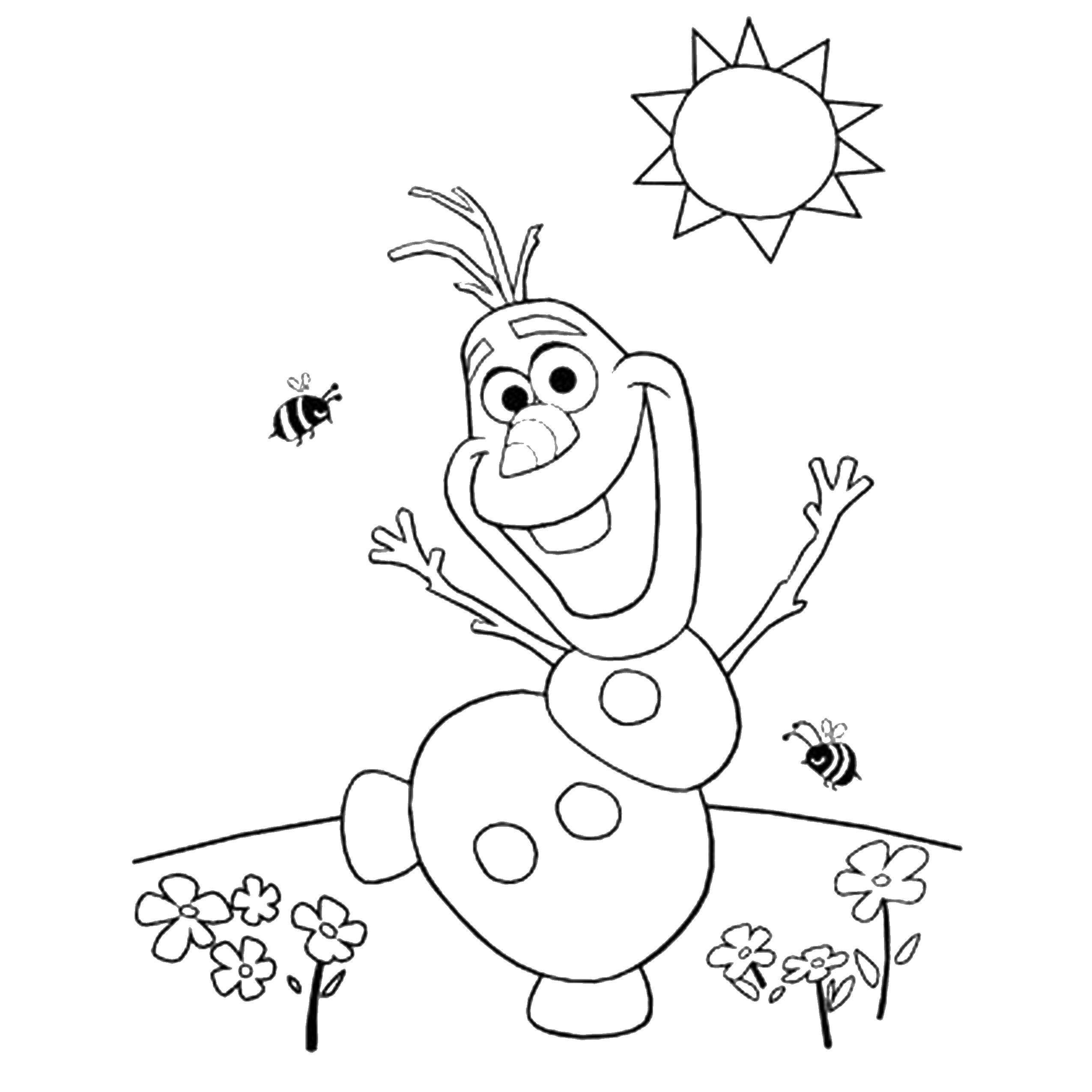 Раскраска Снеговик олаф Скачать снеговик Олаф, холодное сердце.  Распечатать ,Персонаж из мультфильма,