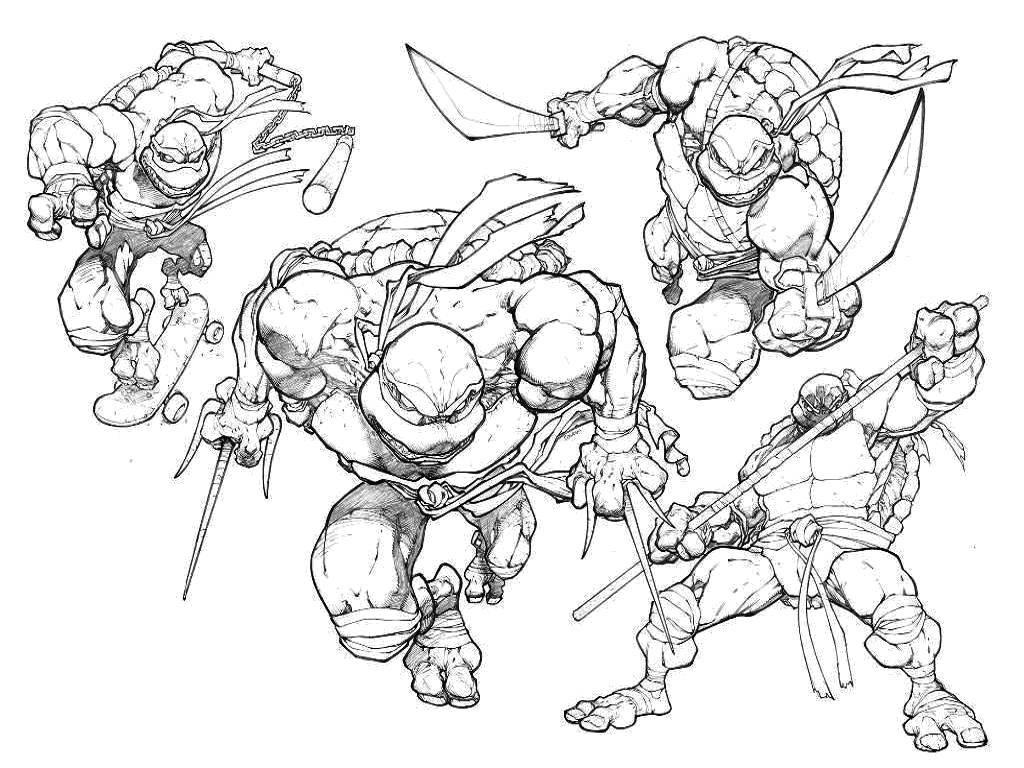 Раскраска Все черепашки ниндзя Скачать мультфильмы, черепашки ниндзя.  Распечатать ,черепашки ниндзя,