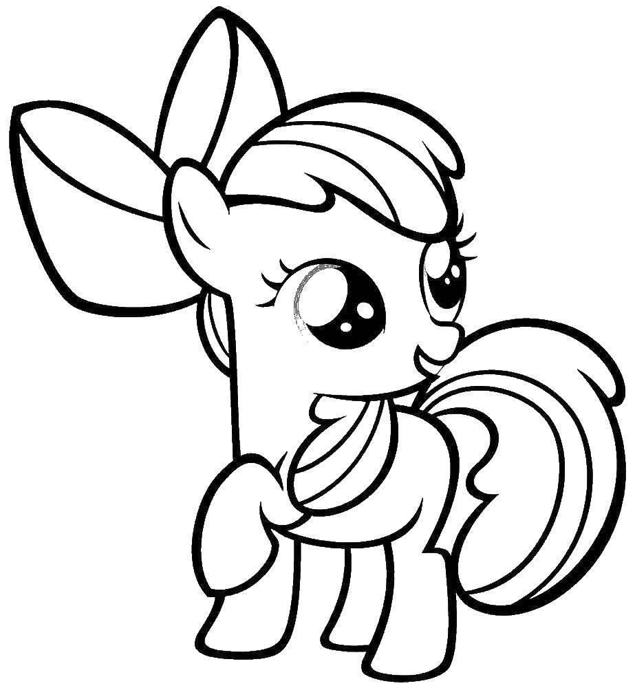 Раскраска Мой маленький  пони эпл блум Скачать пони, единорог.  Распечатать ,мультики,