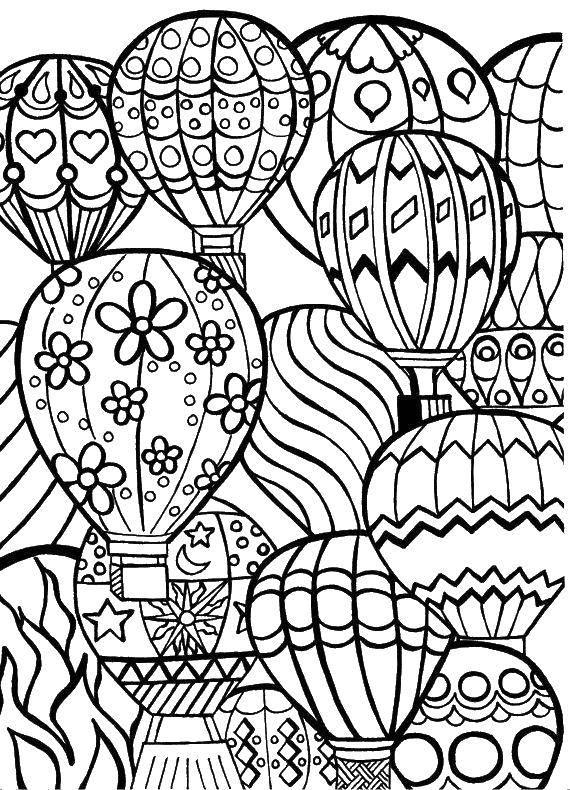 Раскраска Воздушные шары Скачать Воздушные шары.  Распечатать ,воздушный шар,