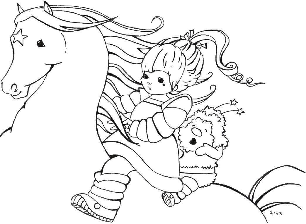 Раскраска Лошадь со звездой на лбу Скачать лошадь, девочка.  Распечатать ,мультики,