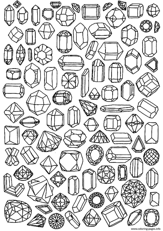 Раскраска Драгоценные камни Скачать драгоценные камни, камни.  Распечатать ,раскраски,