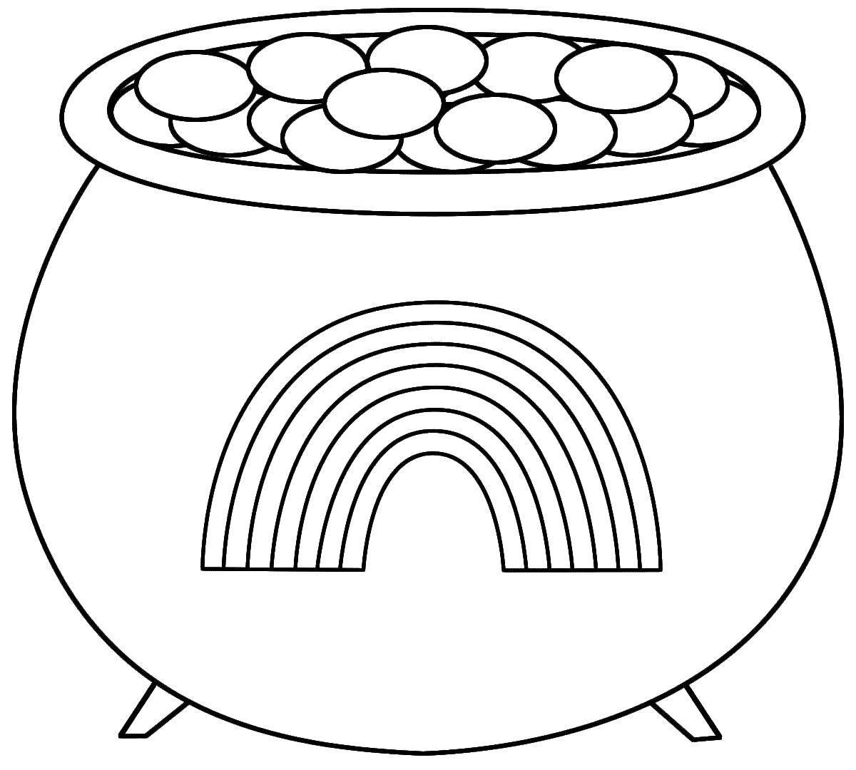 Раскраска Котелок с монетами. Скачать радуга, котелок, монеты, лепреконы.  Распечатать ,Радуга,