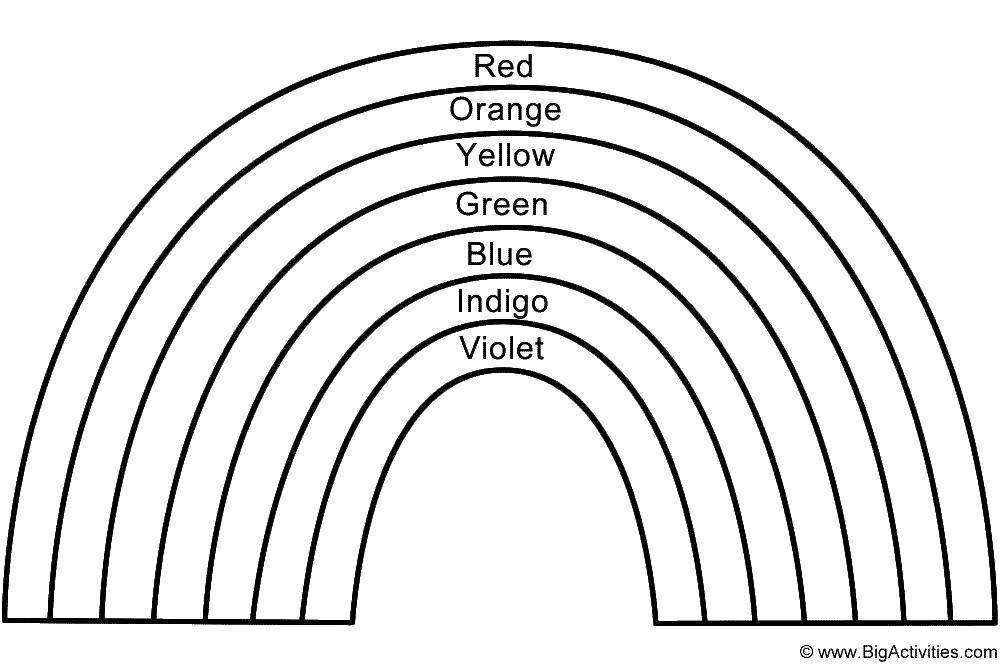 Раскраска Цвета радуги на английском Скачать цвета радуги на английском.  Распечатать ,Радуга,