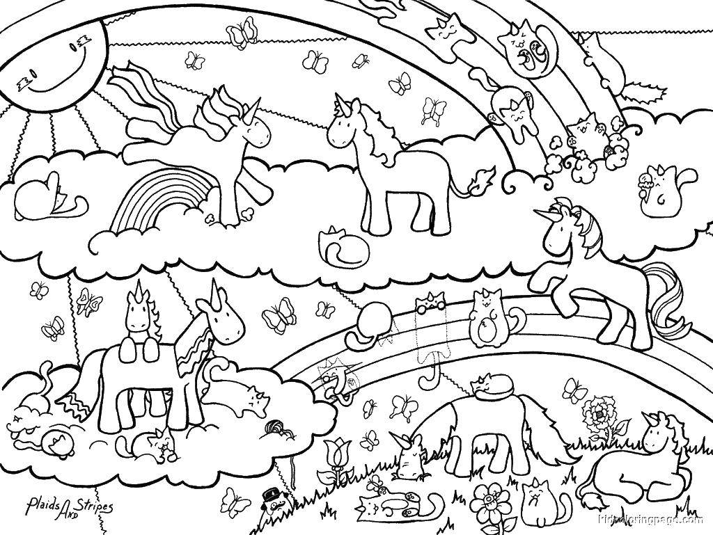 Название: Раскраска Пони и их сказочный мир. Категория: Пони. Теги: пони, радуга, для девочек.