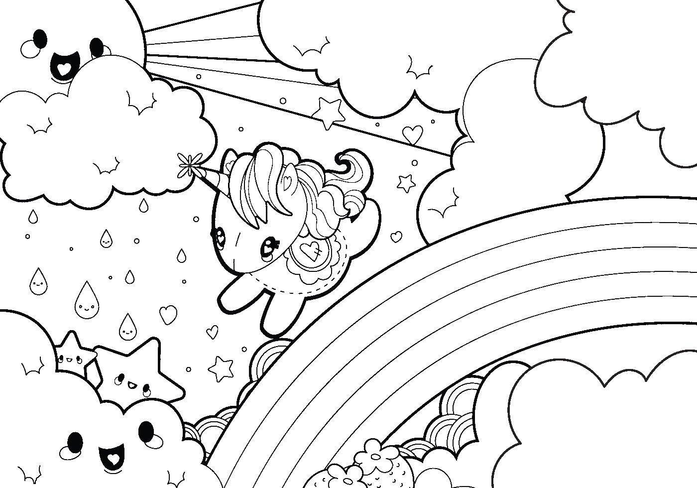 Раскраска Единорог на радуге Скачать единорог, пони.  Распечатать ,Радуга,