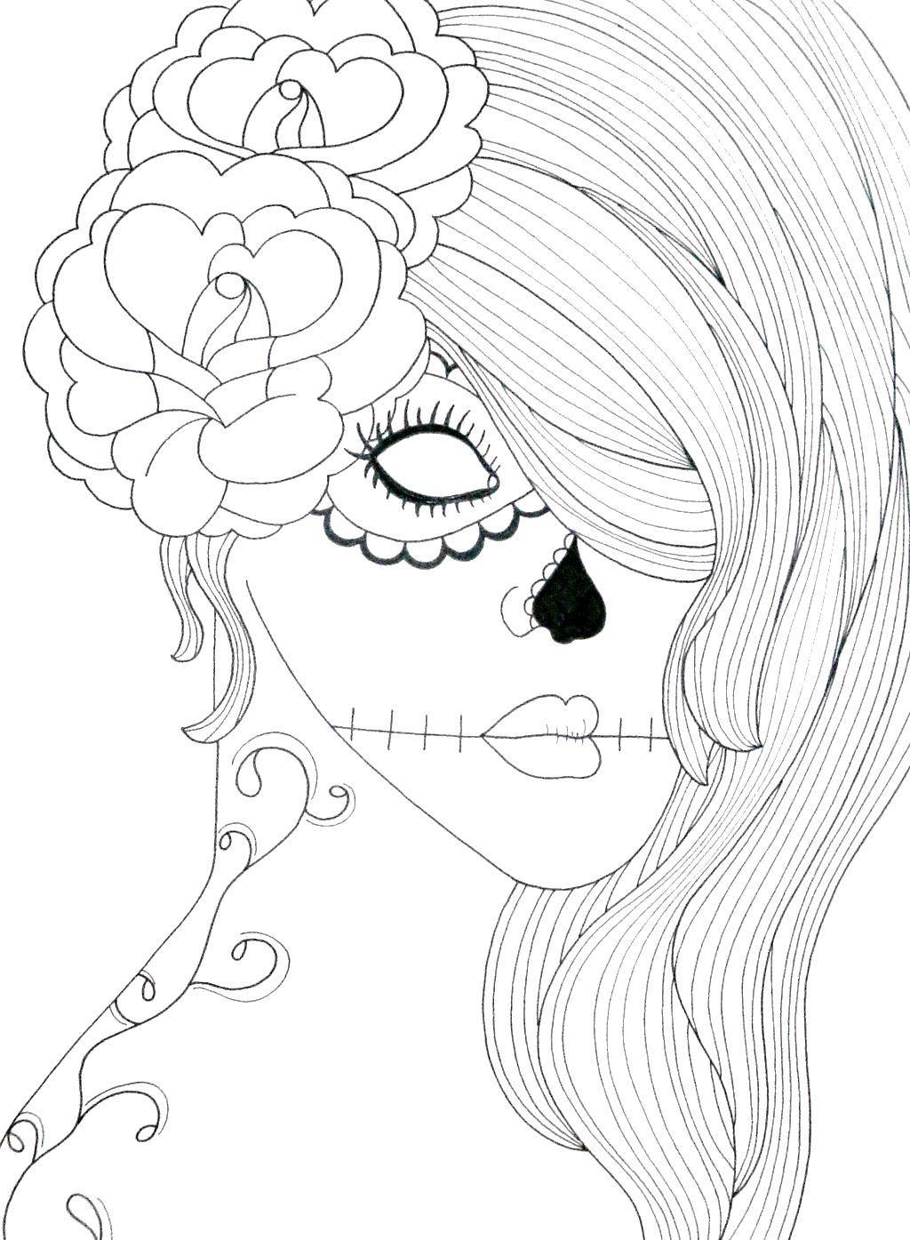 Раскраска Необычный макияж Скачать Девушка, скелет, узор.  Распечатать ,скелеты,